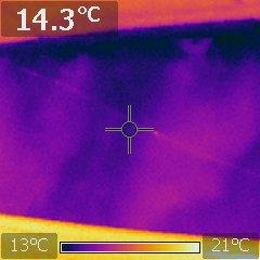 Thermographie infrarouge d'une trace d'humidité