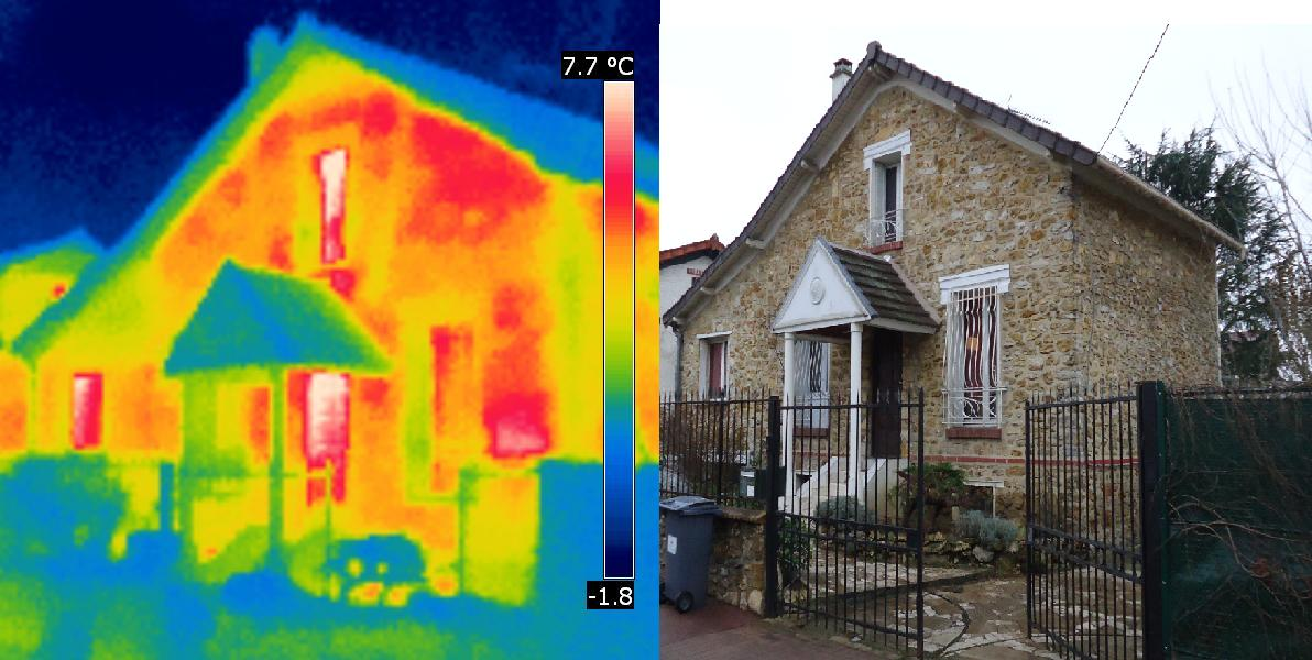 Thermographie infrarouge d'une maison individuelle